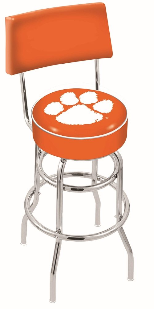 "Clemson Tigers (L7C4) 25"" Tall Logo Bar Stool by Holland Bar Stool Company (with Double Ring Swivel Chrome Base and Chair Seat Back)"