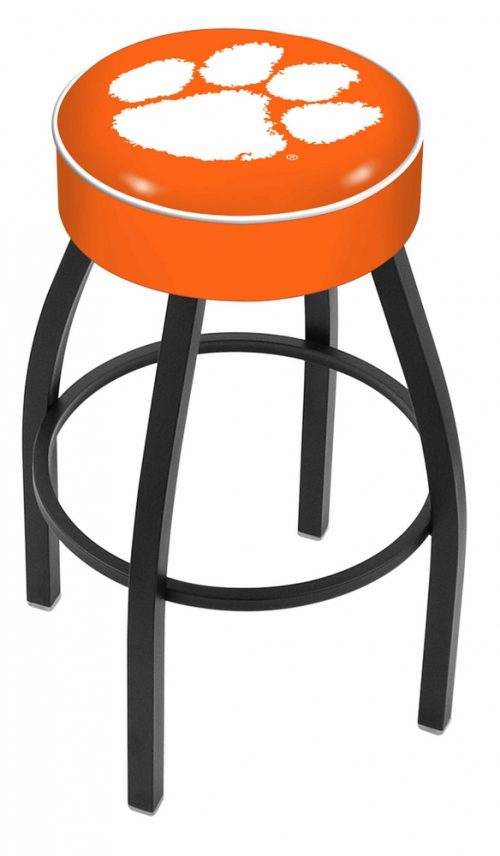 "Clemson Tigers (L8B1) 30"" Tall Logo Bar Stool by Holland Bar Stool Company (with Single Ring Swivel Black Solid Welded Base)"