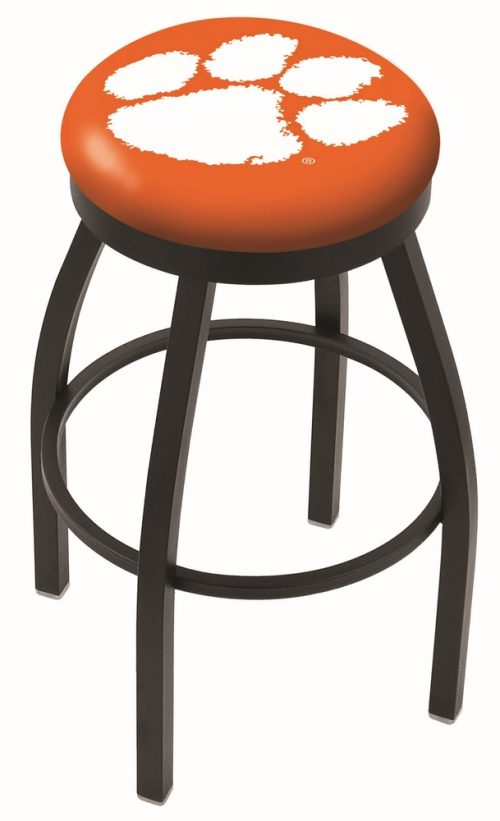 "Clemson Tigers (L8B2B) 25"" Tall Logo Bar Stool by Holland Bar Stool Company (with Single Ring Swivel Black Solid Welded Base)"