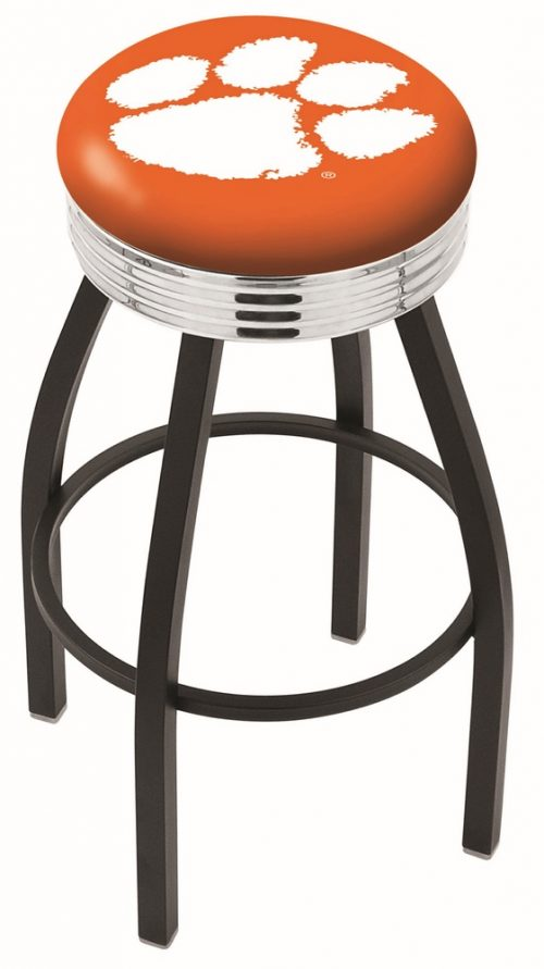 "Clemson Tigers (L8B3C) 30"" Tall Logo Bar Stool by Holland Bar Stool Company (with Single Ring Swivel Black Solid Welded Base)"