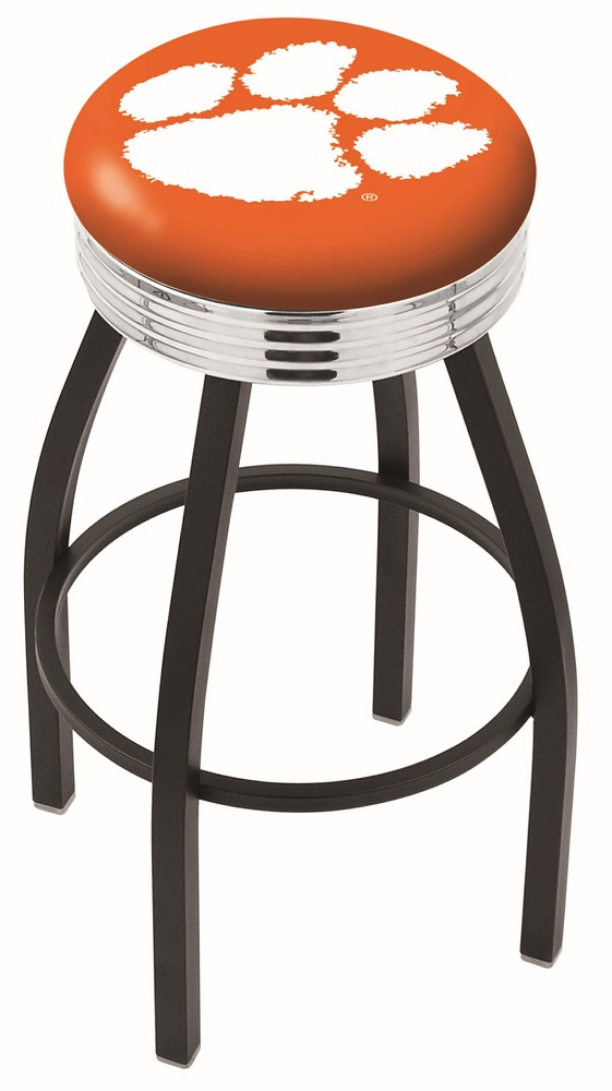 """Clemson Tigers (L8B3C) 30"""" Tall Logo Bar Stool by Holland Bar Stool Company (with Single Ring Swivel Black Solid Welded Base)"""