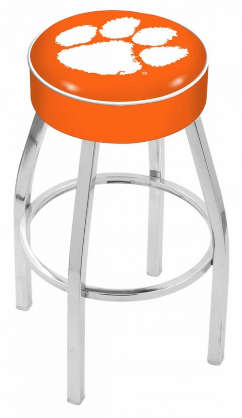 "Clemson Tigers (L8C1) 25"" Tall Logo Bar Stool by Holland Bar Stool Company (with Single Ring Swivel Chrome Solid Welded Base)"