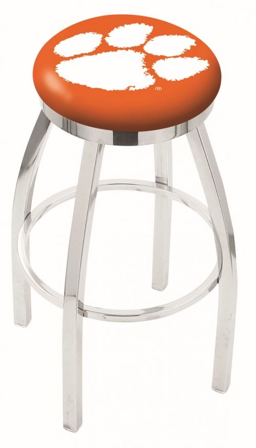 "Clemson Tigers (L8C2C) 25"" Tall Logo Bar Stool by Holland Bar Stool Company (with Single Ring Swivel Chrome Solid Welded Base)"