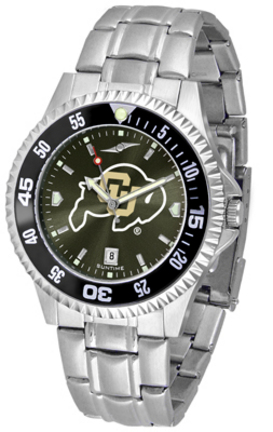 Colorado Buffaloes Competitor AnoChrome Men's Watch with Steel Band and Colored Bezel
