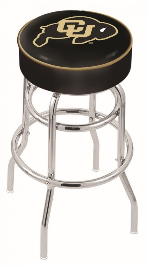 "Colorado Buffaloes (L7C1) 25"" Tall Logo Bar Stool by Holland Bar Stool Company (with Double Ring Swivel Chrome Base)"