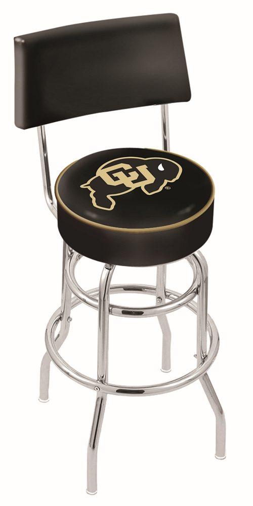 "Colorado Buffaloes (L7C4) 25"" Tall Logo Bar Stool by Holland Bar Stool Company (with Double Ring Swivel Chrome Base and Chair Seat Back)"
