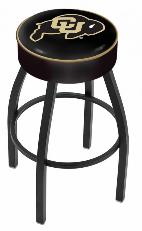 "Colorado Buffaloes (L8B1) 30"" Tall Logo Bar Stool by Holland Bar Stool Company (with Single Ring Swivel Black Solid Welded Base)"