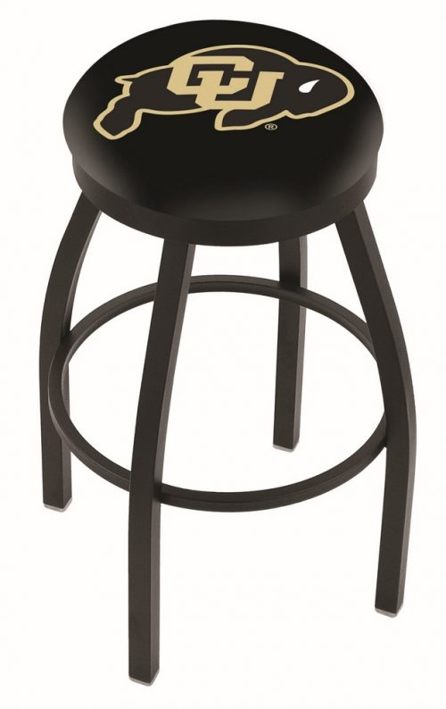 "Colorado Buffaloes (L8B2B) 30"" Tall Logo Bar Stool by Holland Bar Stool Company (with Single Ring Swivel Black Solid Welded Base)"