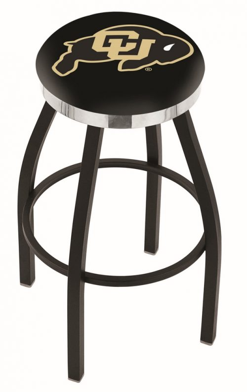 "Colorado Buffaloes (L8B2C) 25"" Tall Logo Bar Stool by Holland Bar Stool Company (with Single Ring Swivel Black Solid Welded Base)"