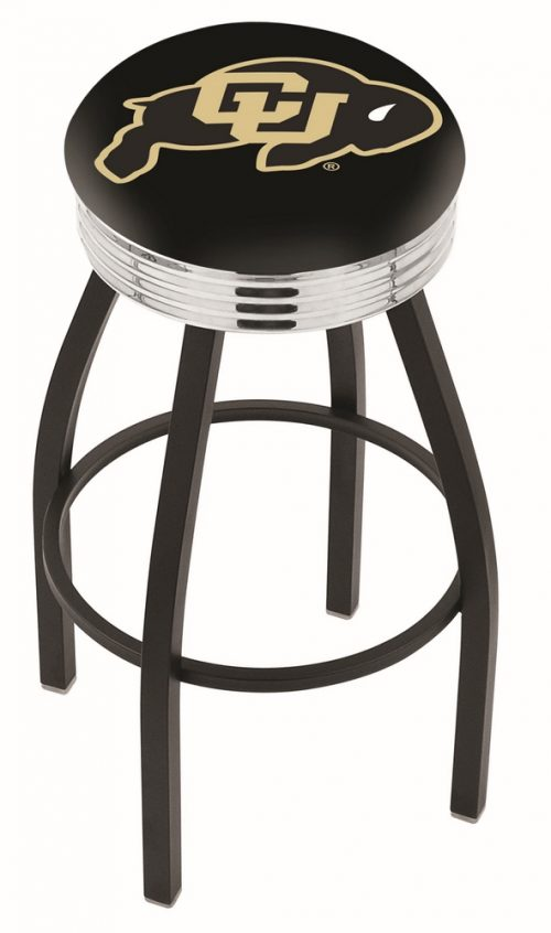 "Colorado Buffaloes (L8B3C) 30"" Tall Logo Bar Stool by Holland Bar Stool Company (with Single Ring Swivel Black Solid Welded Base)"