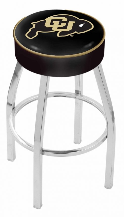 "Colorado Buffaloes (L8C1) 30"" Tall Logo Bar Stool by Holland Bar Stool Company (with Single Ring Swivel Chrome Solid Welded Base)"