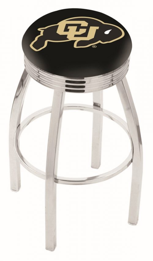 "Colorado Buffaloes (L8C3C) 30"" Tall Logo Bar Stool by Holland Bar Stool Company (with Single Ring Swivel Chrome Solid Welded Base)"