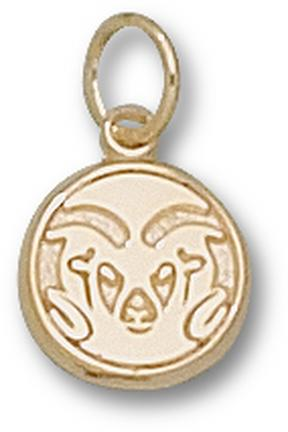 """Colorado State Rams Graphic """"Ram Head"""" 3/8"""" Charm - 10KT Gold Jewelry"""
