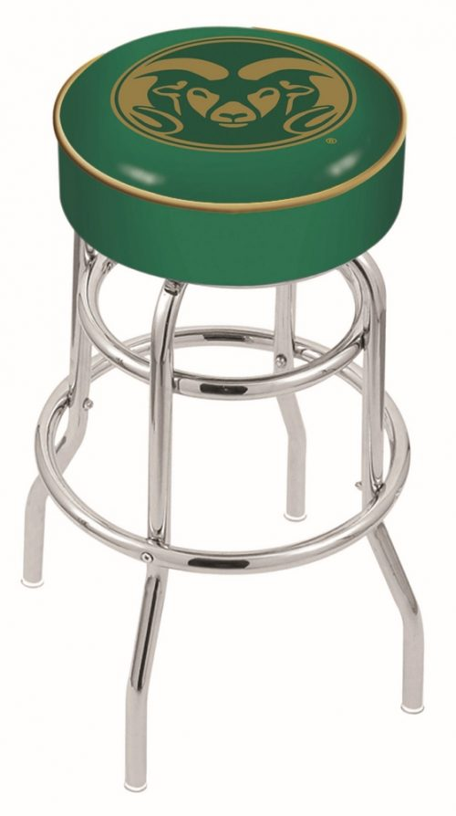"Colorado State Rams (L7C1) 25"" Tall Logo Bar Stool by Holland Bar Stool Company (with Double Ring Swivel Chrome Base)"
