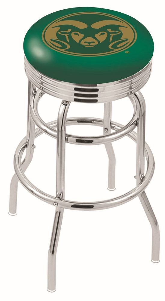 "Colorado State Rams (L7C3C) 25"" Tall Logo Bar Stool by Holland Bar Stool Company (with Double Ring Swivel Chrome Base)"