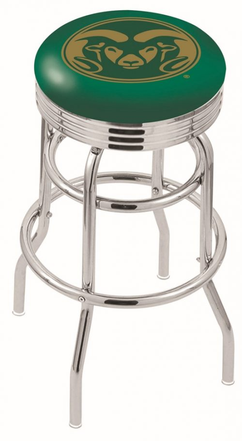 "Colorado State Rams (L7C3C) 30"" Tall Logo Bar Stool by Holland Bar Stool Company (with Double Ring Swivel Chrome Base)"