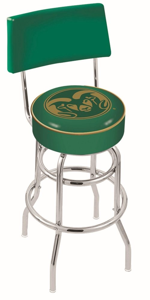 "Colorado State Rams (L7C4) 30"" Tall Logo Bar Stool by Holland Bar Stool Company (with Double Ring Swivel Chrome Base and Chair Seat Back)"