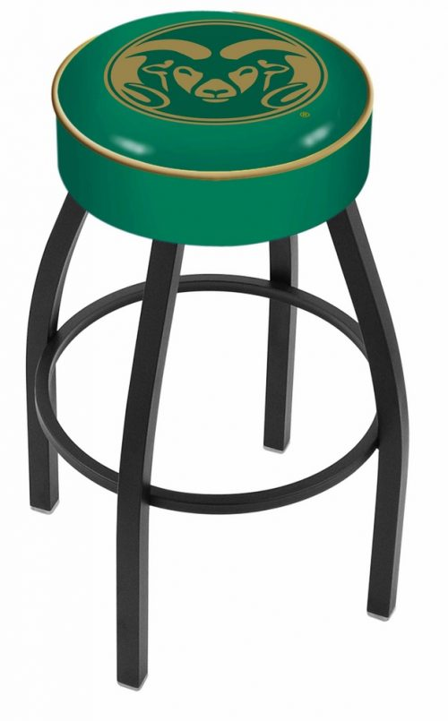 "Colorado State Rams (L8B1) 25"" Tall Logo Bar Stool by Holland Bar Stool Company (with Single Ring Swivel Black Solid Welded Base)"