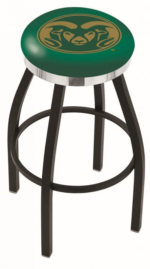 "Colorado State Rams (L8B2C) 30"" Tall Logo Bar Stool by Holland Bar Stool Company (with Single Ring Swivel Black Solid Welded Base)"