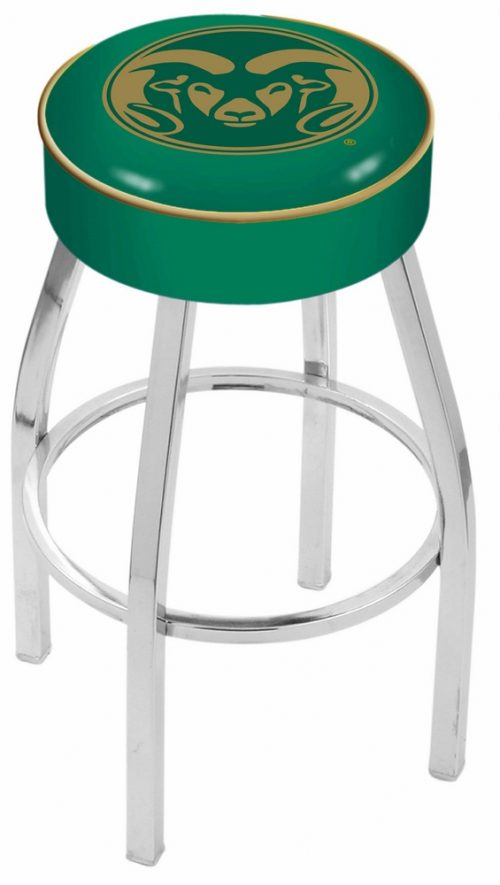 "Colorado State Rams (L8C1) 25"" Tall Logo Bar Stool by Holland Bar Stool Company (with Single Ring Swivel Chrome Solid Welded Base)"