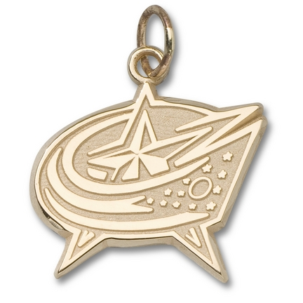 "Columbus Blue Jackets 3/8"" Star Logo Charm - 14KT Gold Jewelry"