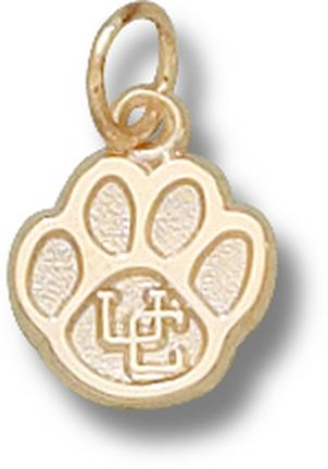 """Connecticut Huskies """"UC Paw"""" 3/8"""" Charm - 14KT Gold Jewelry"""