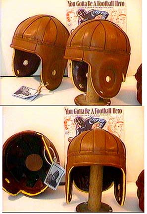 Cordovan Rust Leather Football Helmet from Past Time Sports
