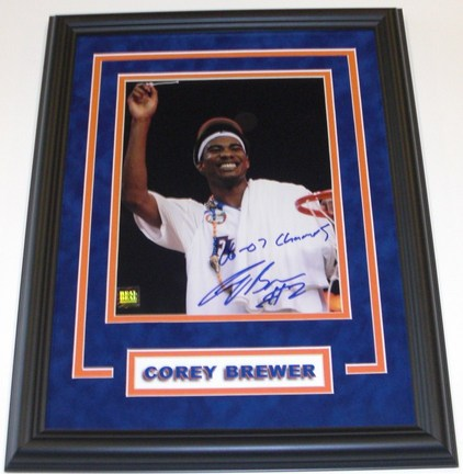 "Corey Brewer Autographed Florida Gators 8"" x 10"" Custom Framed"