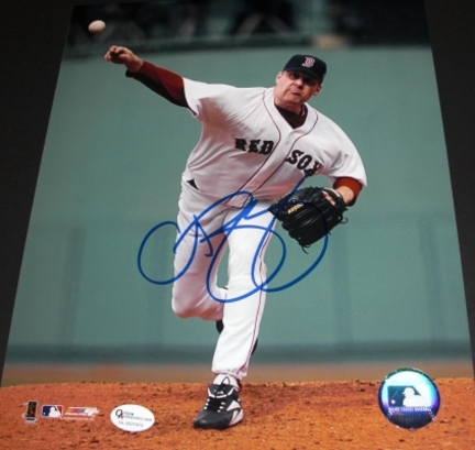 "Curt Schilling Autographed Boston Red Sox ""Throwing Ball"" 8"" x 10"" Action Photograph (Unframed)"