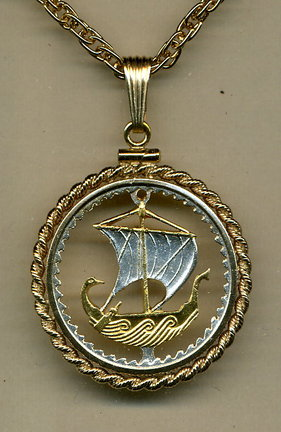 "Cyprus 5 Mils ""Viking Ship"" Two Tone Coin Cut Out Pendant with 18"" Chain and Rope Bezel"