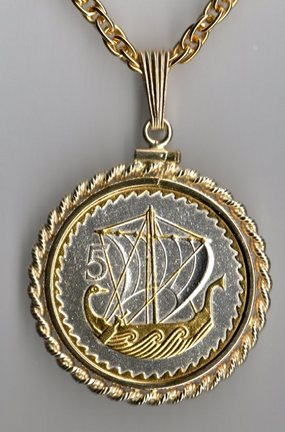 "Cyprus 5 Mils ""Viking Ship"" Two Tone Rope Bezel Coin on 18"" Chain"