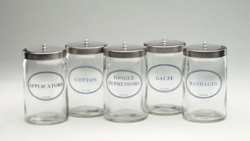 DDI 2169493 Glass Sundry Jar, Labeled, Blue Imprint 5 ct