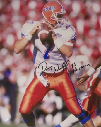 "Danny Wuerffel Autographed Florida Gators 16"" x 20"" Photograph (White) with ""96 Heisman"" Inscription"