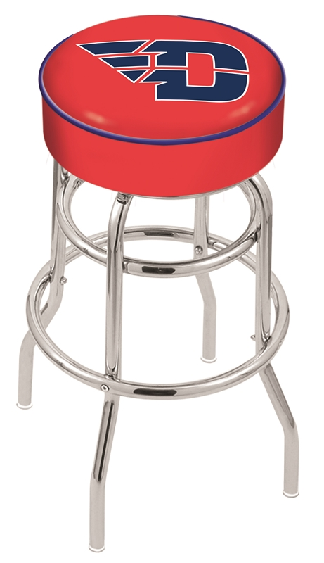 "Dayton Flyers (L7C1) 25"" Tall Logo Bar Stool by Holland Bar Stool Company (with Double Ring Swivel Chrome Base)"
