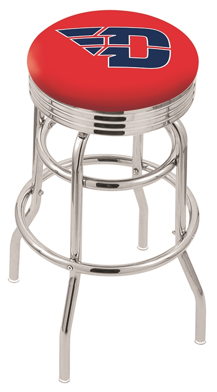 "Dayton Flyers (L7C3C) 25"" Tall Logo Bar Stool by Holland Bar Stool Company (with Double Ring Swivel Chrome Base)"