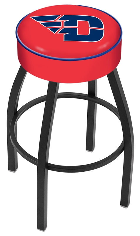 "Dayton Flyers (L8B1) 30"" Tall Logo Bar Stool by Holland Bar Stool Company (with Single Ring Swivel Black Solid Welded Base)"