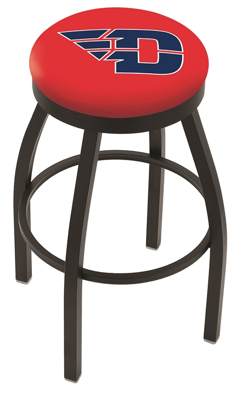 "Dayton Flyers (L8B2B) 25"" Tall Logo Bar Stool by Holland Bar Stool Company (with Single Ring Swivel Black Solid Welded Base)"