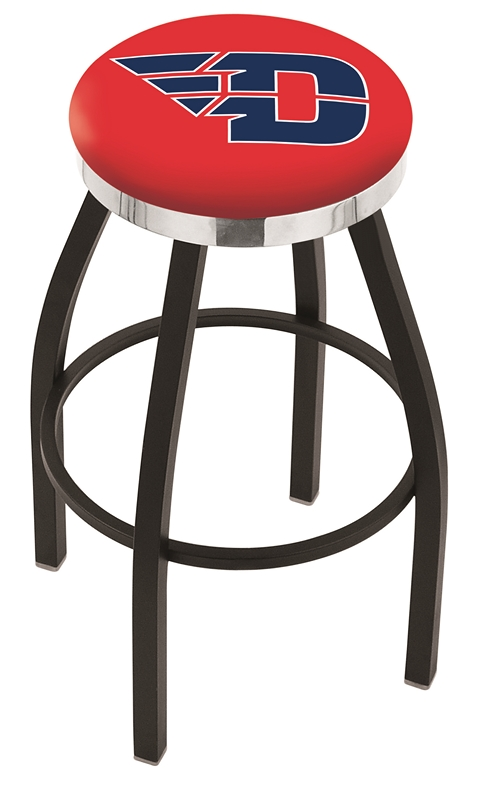 "Dayton Flyers (L8B2C) 25"" Tall Logo Bar Stool by Holland Bar Stool Company (with Single Ring Swivel Black Solid Welded Base)"