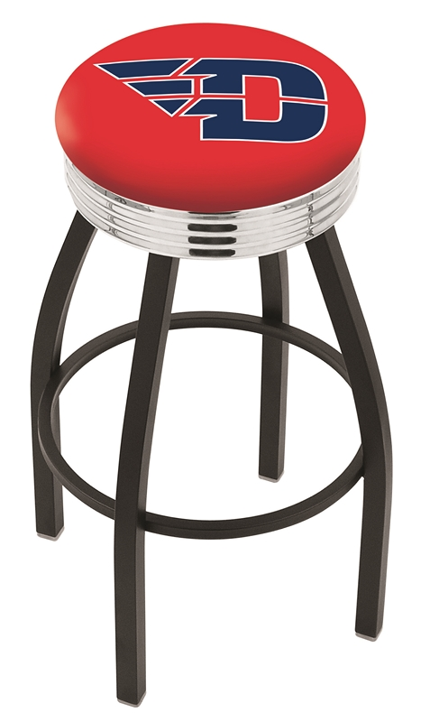 "Dayton Flyers (L8B3C) 25"" Tall Logo Bar Stool by Holland Bar Stool Company (with Single Ring Swivel Black Solid Welded Base)"