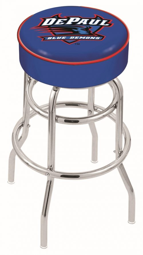 "DePaul Blue Demons (L7C1) 25"" Tall Logo Bar Stool by Holland Bar Stool Company (with Double Ring Swivel Chrome Base)"