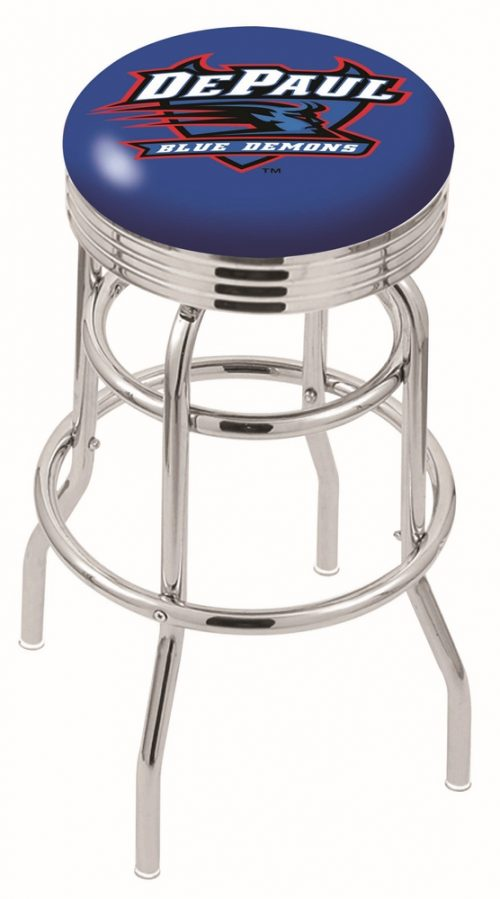 "DePaul Blue Demons (L7C3C) 25"" Tall Logo Bar Stool by Holland Bar Stool Company (with Double Ring Swivel Chrome Base)"