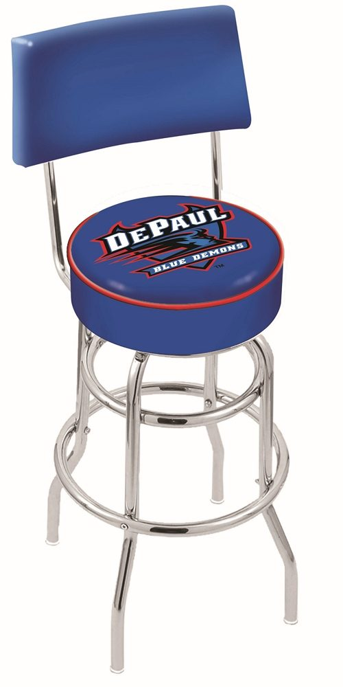 "DePaul Blue Demons (L7C4) 25"" Tall Logo Bar Stool by Holland Bar Stool Company (with Double Ring Swivel Chrome Base and Chair Seat Back)"