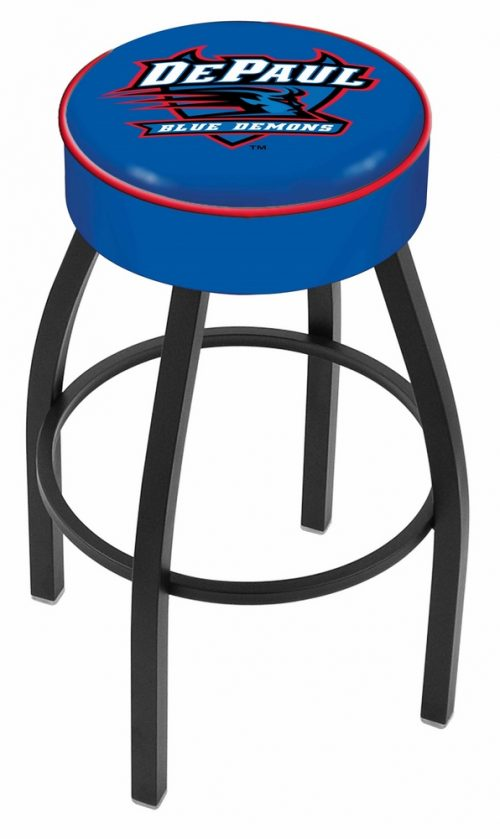 "DePaul Blue Demons (L8B1) 25"" Tall Logo Bar Stool by Holland Bar Stool Company (with Single Ring Swivel Black Solid Welded Base)"