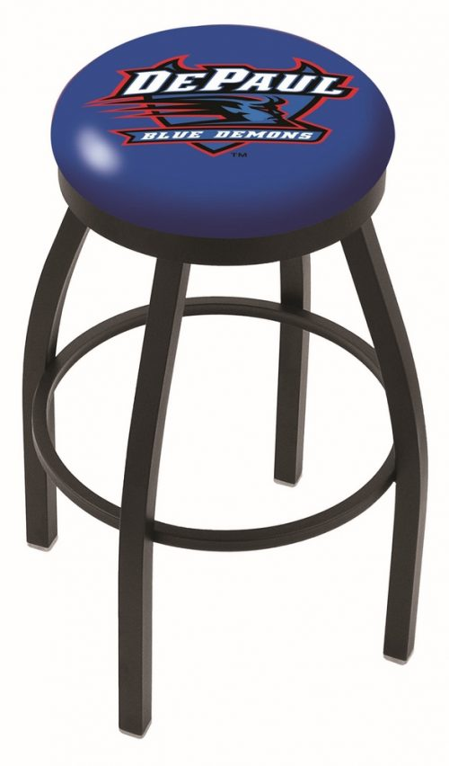 "DePaul Blue Demons (L8B2B) 30"" Tall Logo Bar Stool by Holland Bar Stool Company (with Single Ring Swivel Black Solid Welded Base)"
