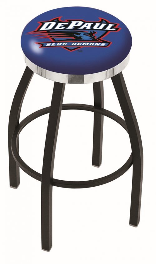 "DePaul Blue Demons (L8B2C) 30"" Tall Logo Bar Stool by Holland Bar Stool Company (with Single Ring Swivel Black Solid Welded Base)"