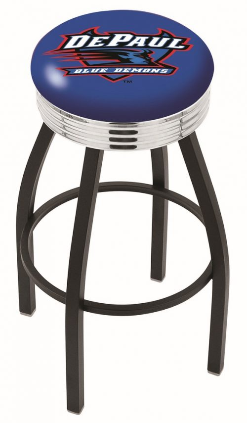 "DePaul Blue Demons (L8B3C) 25"" Tall Logo Bar Stool by Holland Bar Stool Company (with Single Ring Swivel Black Solid Welded Base)"