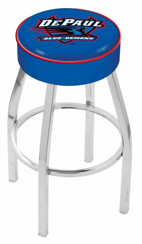 "DePaul Blue Demons (L8C1) 25"" Tall Logo Bar Stool by Holland Bar Stool Company (with Single Ring Swivel Chrome Solid Welded Base)"