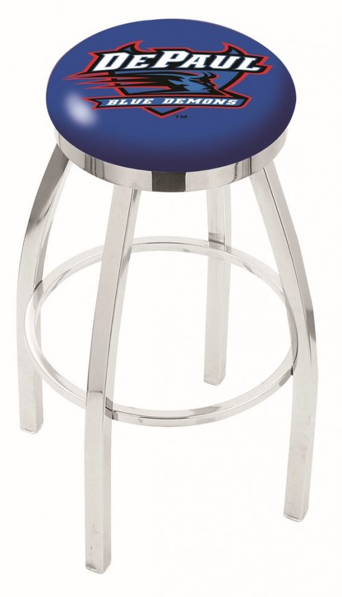 "DePaul Blue Demons (L8C2C) 30"" Tall Logo Bar Stool by Holland Bar Stool Company (with Single Ring Swivel Chrome Solid Welded Base)"