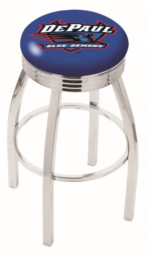 "DePaul Blue Demons (L8C3C) 30"" Tall Logo Bar Stool by Holland Bar Stool Company (with Single Ring Swivel Chrome Solid Welded Base)"