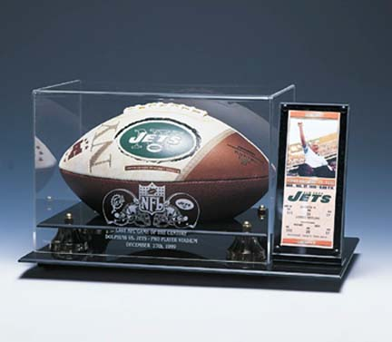 Deluxe Football Display Case with Gold Risers and Ticket Holder